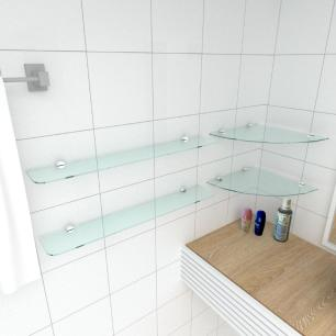 kit com 2 Prateleira de vidro temperado para banheiro 2 de 30 cm para canto e 2 de 60 cm reta