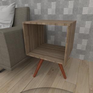 Mesa lateral nicho em mdf amadeirado escuro com 3 pés inclinados em madeira maciça cor mogno