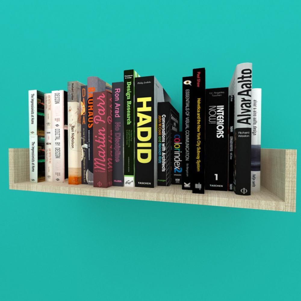 Estante de Livros nichos modernos, em mdf Amadeirado claro