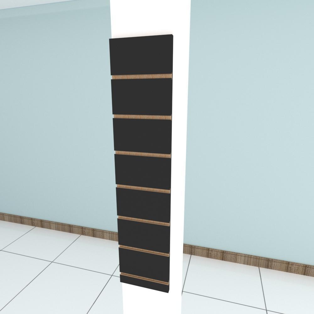 Painel canaletado para pilar preto 1 peça 20(L)x90(A)cm
