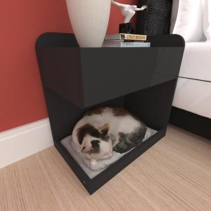 Casinha caminha criado mudo gato gaveta mdf cor preto