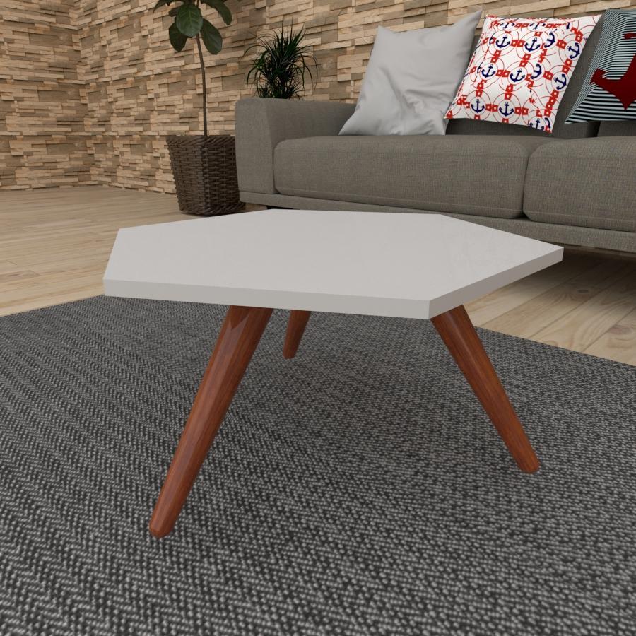 Mesa de Centro hexagonal em mdf cinza com 3 pés inclinados em madeira maciça cor mogno