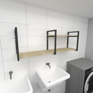 Prateleira industrial para lavanderia aço cor preto mdf 30 cm cor amadeirado claro modelo ind07aclav