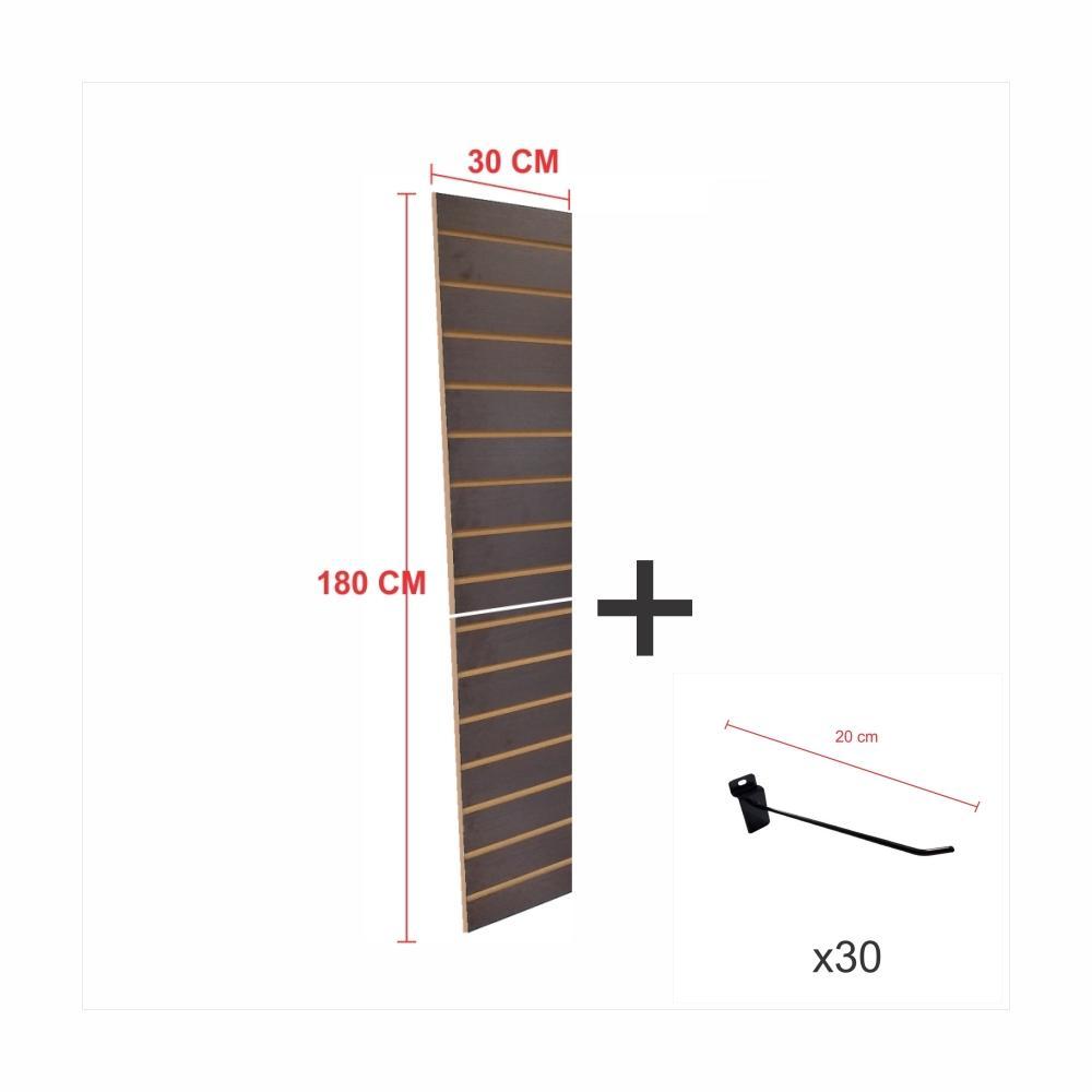 Kit Painel canaletado preto alt 180 cm comp 30 cm mais 30 ganchos 20 cm