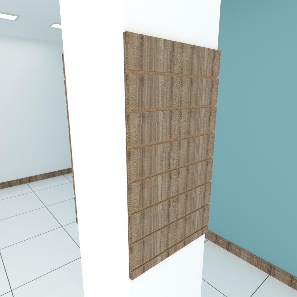 Kit 2 Painel canaletado para pilar amadeirado escuro 2 peças 50(L)x90(A)cm