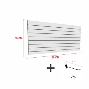 Expositor canaletado cinza alt 90 cm comp 180 cm mais 70 ganchos 20 cm