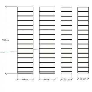 Kit 4 Painel canaletado para pilar cinza cristal 2 peças 44(L)x180(A)cm + 2 peças 30(L)x180(A)cm