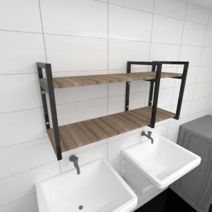 Prateleira industrial para lavanderia aço cor preto mdf 30cm cor amadeirado escuro modelo ind21aelav