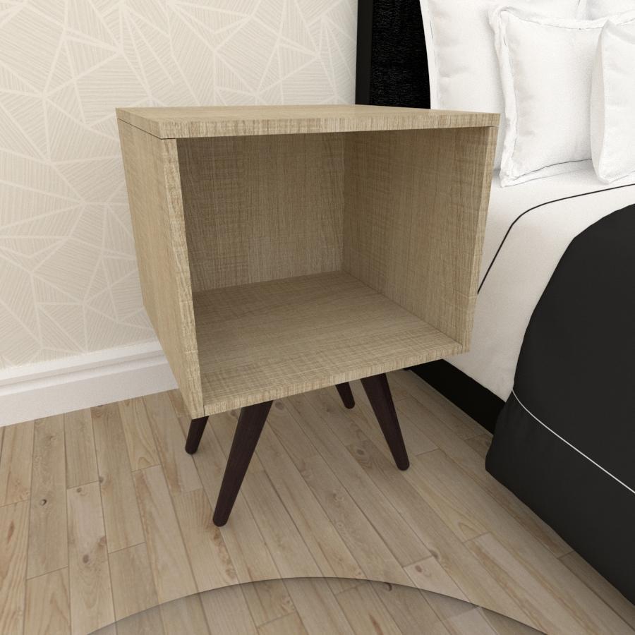 Mesa de Cabeceira moderna em mdf amadeirado claro com 4 pés inclinados em madeira maciça cor tabaco