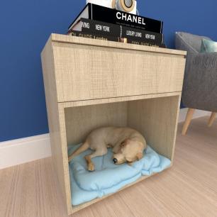 caminha criado cachorro cão gaveta mdf Amadeirado claro