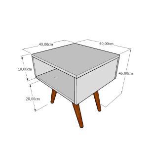 Mesa lateral em mdf branco com 4 pés inclinados em madeira maciça cor tabaco