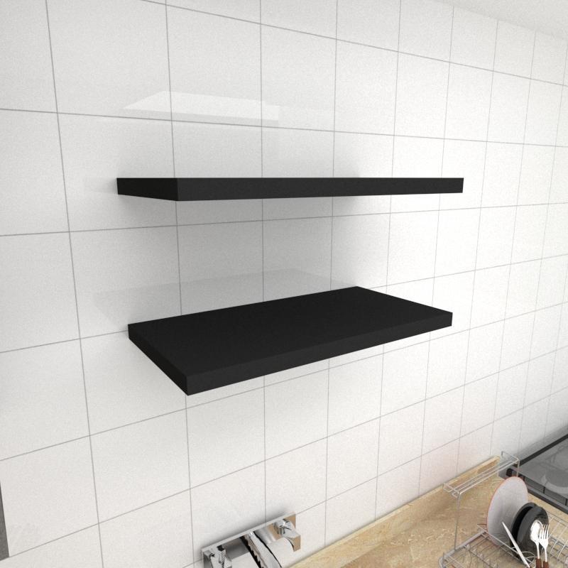 Kit 2 prateleiras para cozinha em MDF suporte Inivisivel preto 60x30cm modelo pratcp23