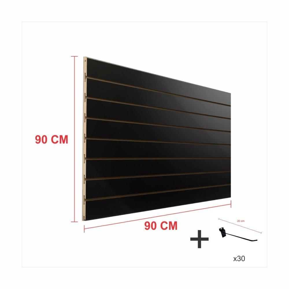Painel com ganchos preto alt 90 cm comp 90 cm mais 30 ganchos 20 cm