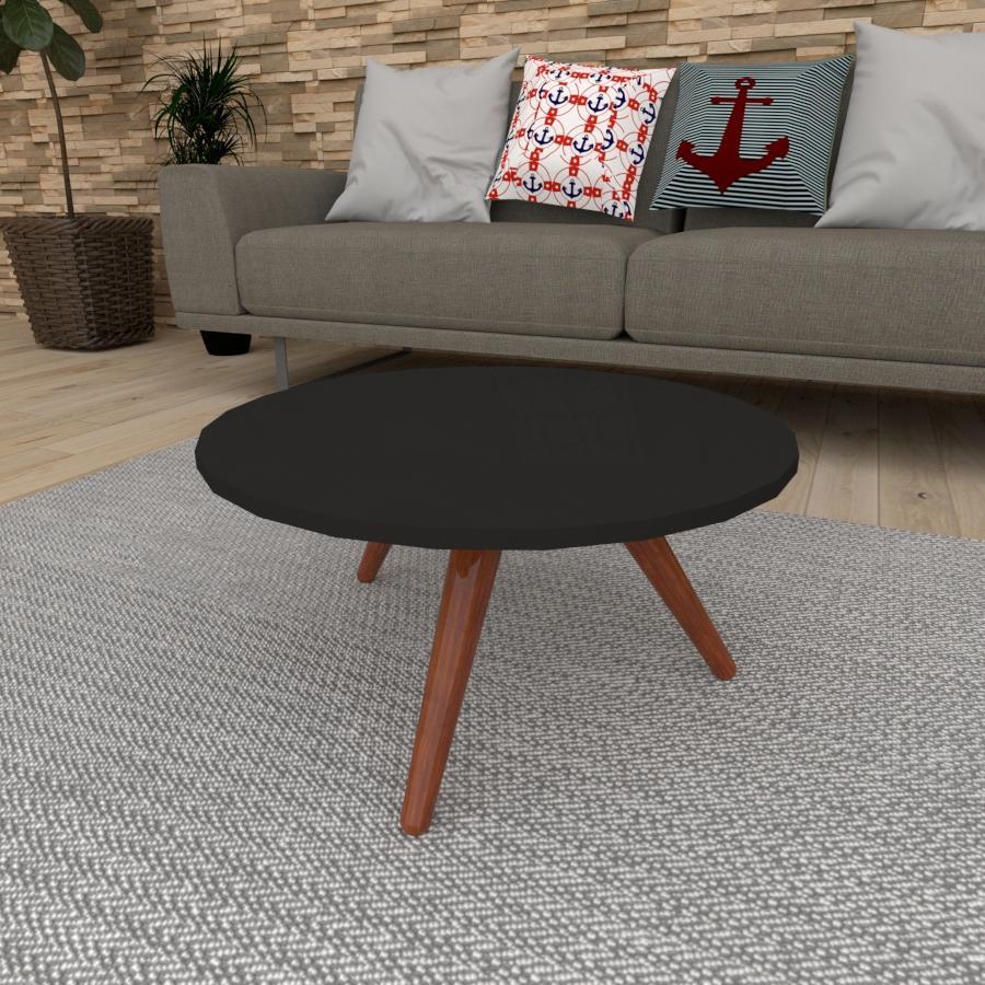 Mesa de Centro redonda em mdf preto com 3 pés inclinados em madeira maciça cor mogno