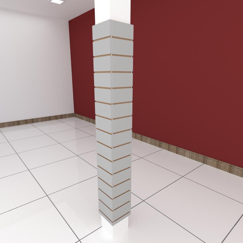 Kit 4 Painel canaletado para pilar cinza cristal 2 peças 24(L)x180(A)cm + 2 peças 20(L)x180(A)cm