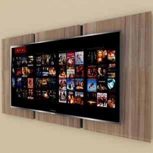 Painel Tv pequeno moderno amadeirado escuro com preto
