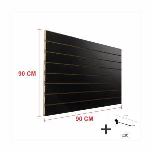 Expositor canaletado preto alt 90 cm comp 90 cm mais 30 ganchos 10 cm
