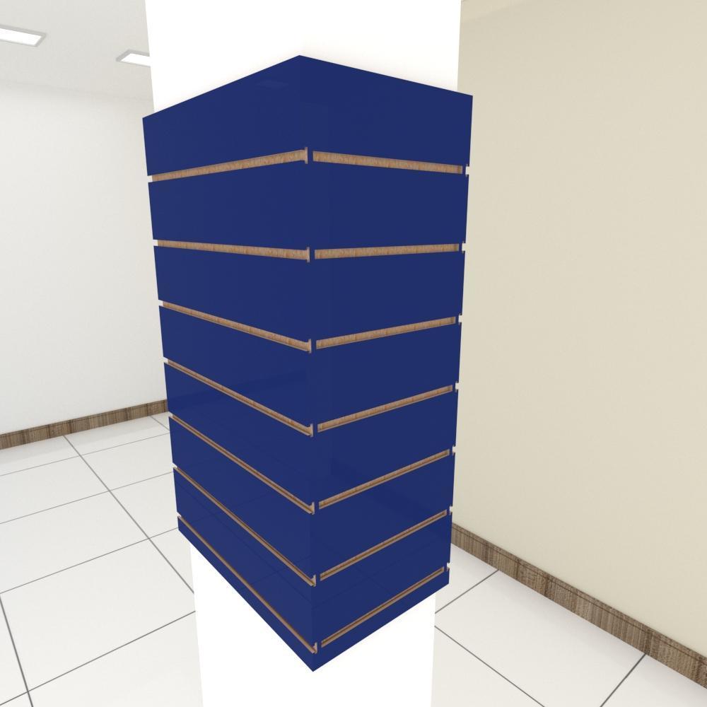 Kit 4 Painel canaletado para pilar azul escuro 2 peças 54(L)x90(A) cm + 2 peças 30(L)x90(A) cm