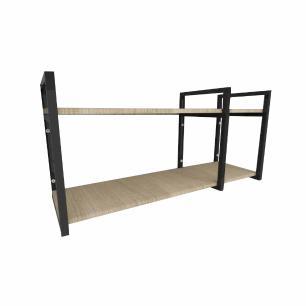 Prateleira industrial aço cor preto 30 cm MDF cor amadeirado claro modelo indfb21acsl