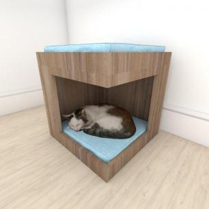 Mesa de cabeceira caminha casinha para Gato em mdf Amadeirado