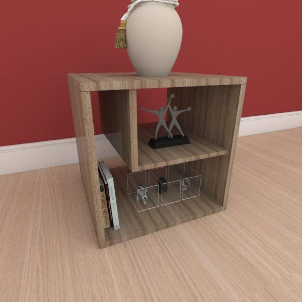 Mesa de centro moderna com nichos em mdf amadeirado