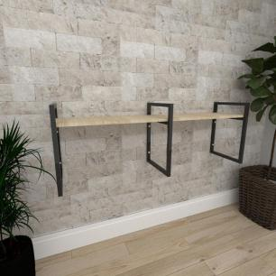 Mini estante industrial para escritório aço cor preto mdf 30cm cor amadeirado claro modelo ind06acep