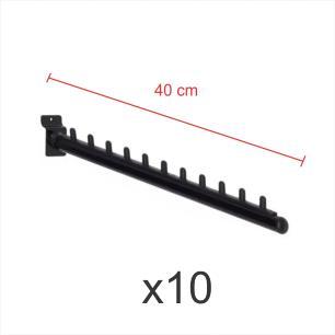 Kit com 10 ganchos rt para roupas preto de 40 cm para painel canaletado
