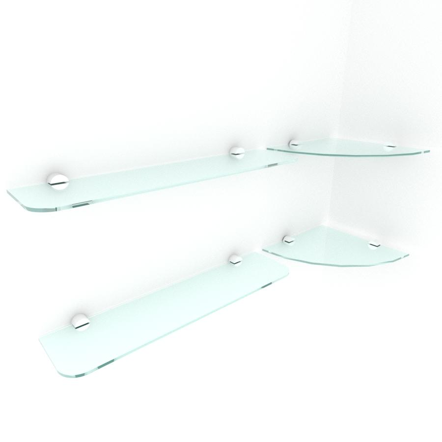 kit com 4 Prateleira de vidro temperado para escritorio 2 de 20 cm para canto e 2 de 40 cm reta