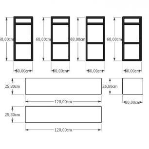 Prateleira industrial aço cor preto 30 cm MDF cor cinza modelo indfb18csl