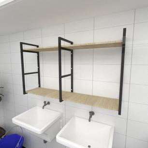 Prateleira industrial para lavanderia aço cor preto mdf 30cm cor amadeirado claro modelo ind13aclav