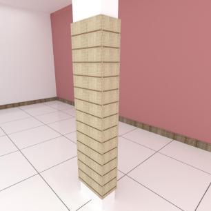 Kit 4 Painel canaletado para pilar amadeirado claro 2 peças 44(L)x180(A)cm + 2 peças 20(L)x180(A)cm
