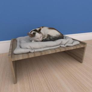 Mesa de cabeceira caminha bercinho pequeno gato em mdf preto