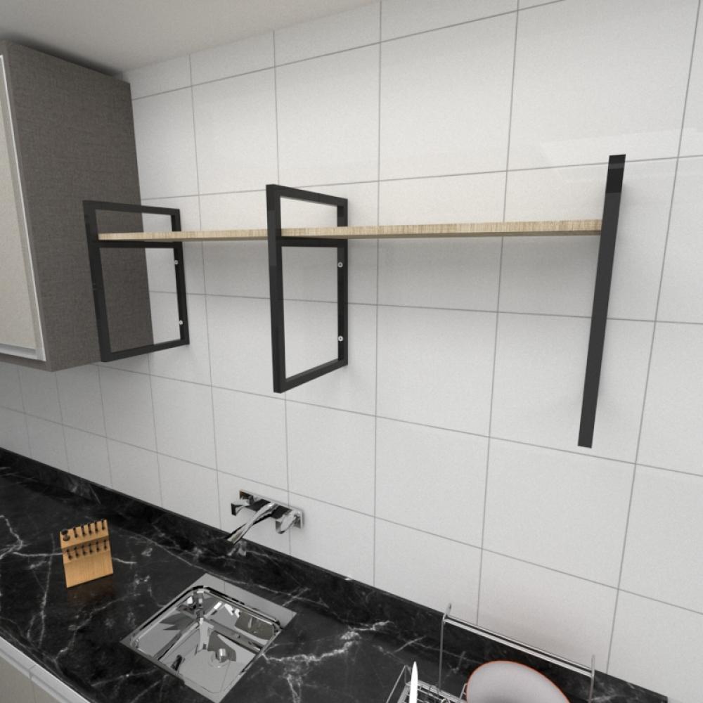 Prateleira industrial para cozinha aço cor preto prateleiras 30cm cor amadeirado claro mod ind06acc
