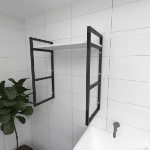 Prateleira industrial para lavanderia aço cor preto prateleiras 30cm cor branca modelo ind15blav
