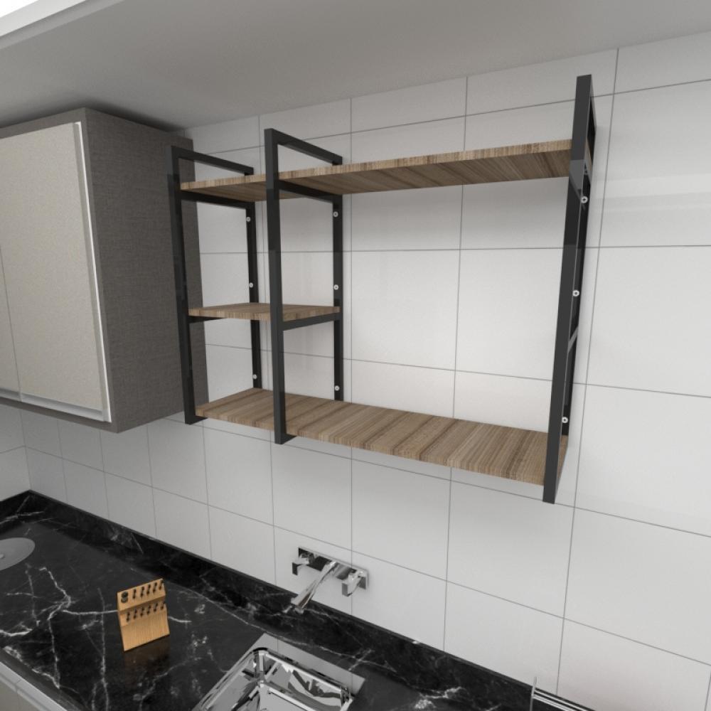 Prateleira industrial cozinha aço cor preto prateleiras 30cm cor amadeirado escuro mod ind16aec