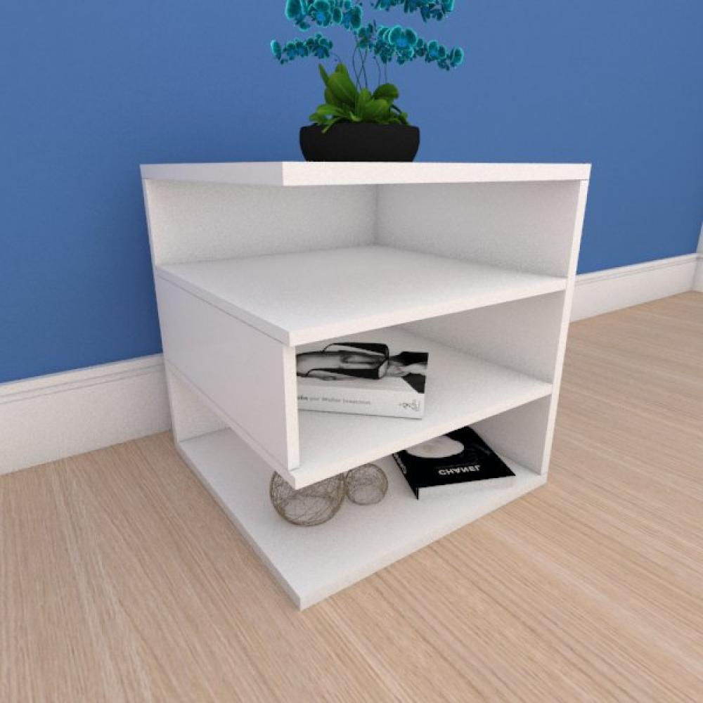Mesa Lateral minimalista com nichos em mdf branco