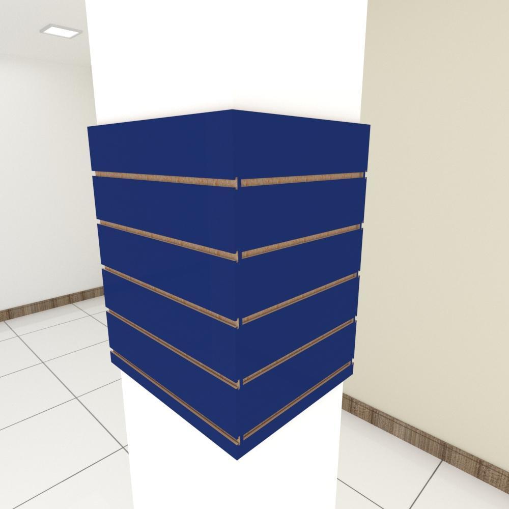 Kit 4 Painel canaletado para pilar azul escuro 2 peças 54(L)x60(A)cm + 2 peças 40(L)x60(A)cm