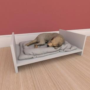 Mesa de cabeceira caminha simples pequeno cachorro em mdf cinza