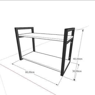 Aparador industrial aço cor preto mdf 30 cm cor amadeirado claro modelo ind01acapr