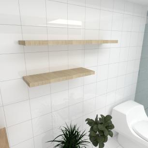 Kit 2 prateleiras banheiro MDF sup. Inivisivel amadeirado claro 1 60x20cm 1 90x20cm mod pratbnamc35