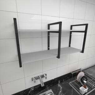 Prateleira industrial para cozinha aço cor preto prateleiras 30cm cor cinza modelo ind22cc