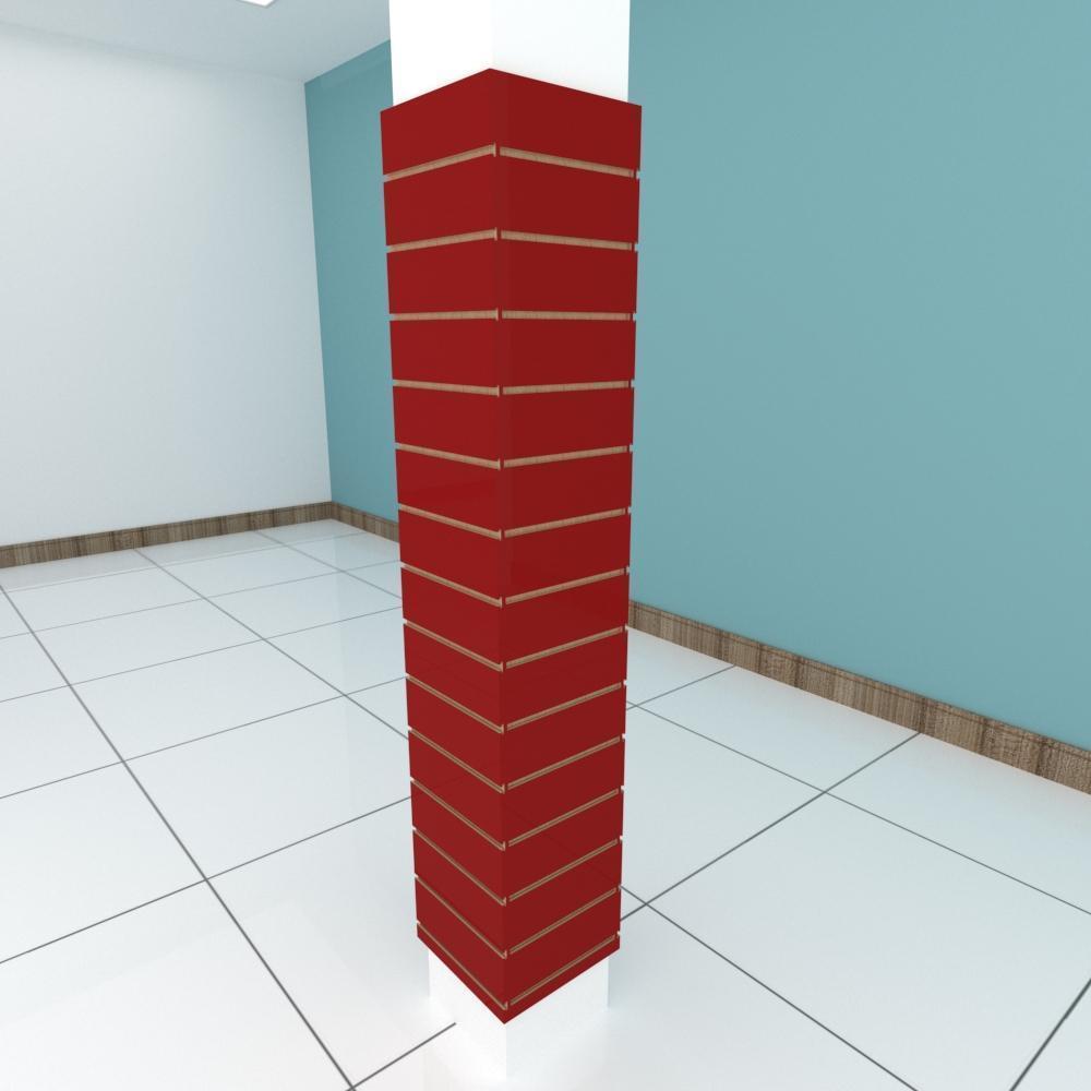 Kit 4 Painel canaletado para pilar vermelho escuro 2 peças 34(L)x180(A)cm + 2 peças 30(L)x180(A)cm
