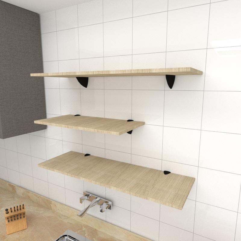 Kit 3 prateleiras cozinha em MDF suporte tucano amadeirado claro 1 60x30cm 2 90x30cm mod pratcamc13