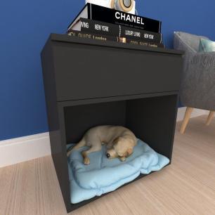 caminha criado cachorro cão gaveta mdf preto