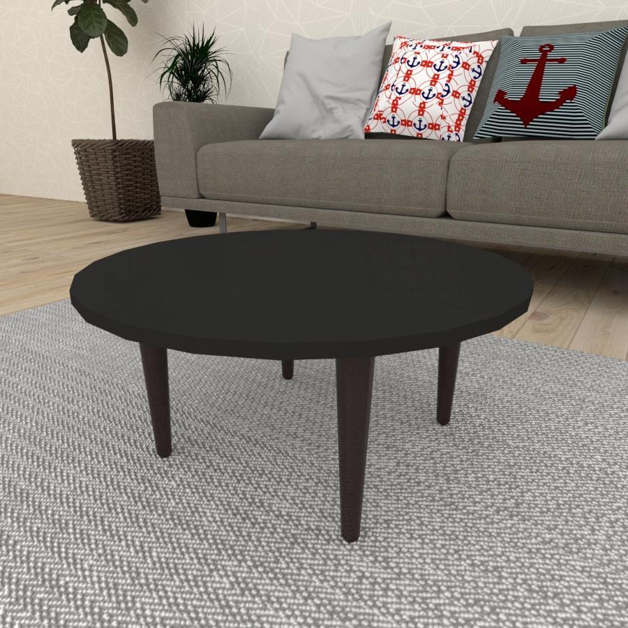 Mesa de Centro redonda em mdf preto com 4 pés retos em madeira maciça cor tabaco