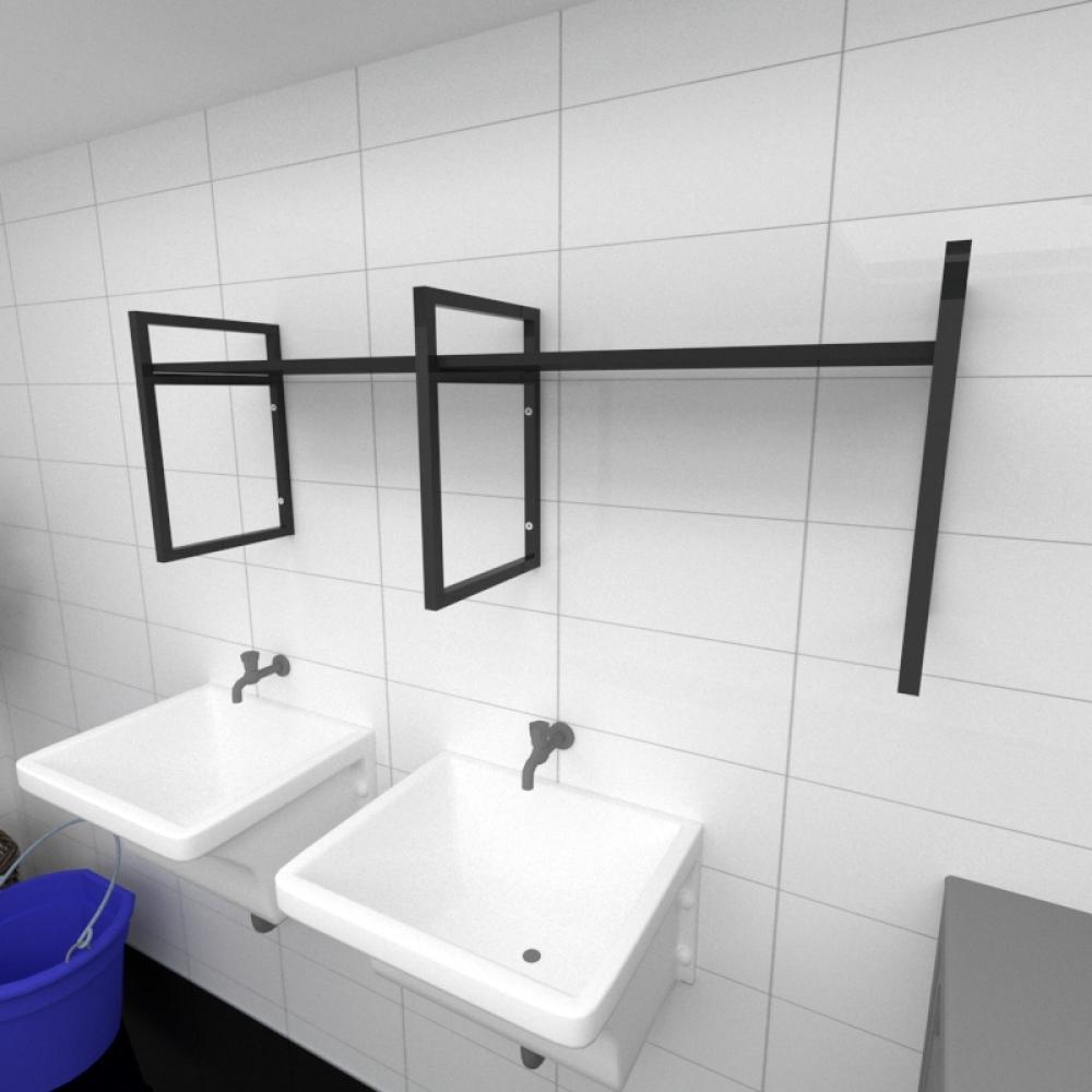 Prateleira industrial para lavanderia aço cor preto prateleiras 30 cm cor preto modelo ind06plav