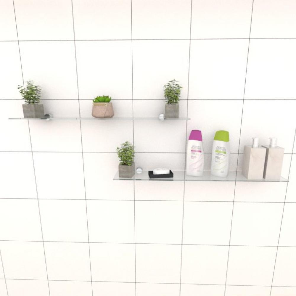 Kit com duas Prateleira para banheiro 60 cm vidro temperado
