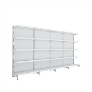 kit com 4 gondola de parede 1 inicial 3 cont 1,70x92 40/30 flex 40 amapa, porta etiquetas branco
