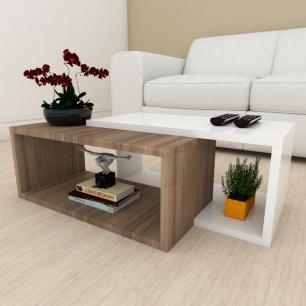 Mesa de centro moderna amadeirado escuro com branco