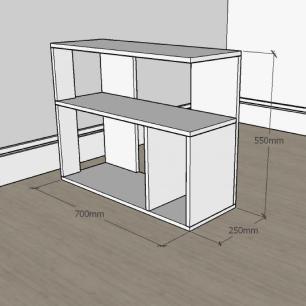 Mesa de Cabeceira formato minimalista em mdf Cinza